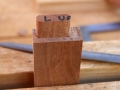 Tenons rounded over with rasp and chisel