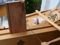 After defining half blind dovetails in front piece I scoop out what I can with bow saw