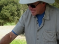 Winemaker Bruce McGuire pouring cellar discoveries