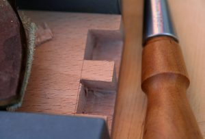 Creating half-blind dovetail sockets.