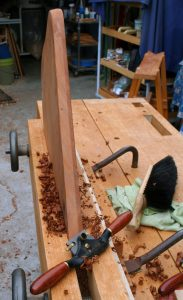 Hand plane, spokeshaves and rasps create the edge treatment.