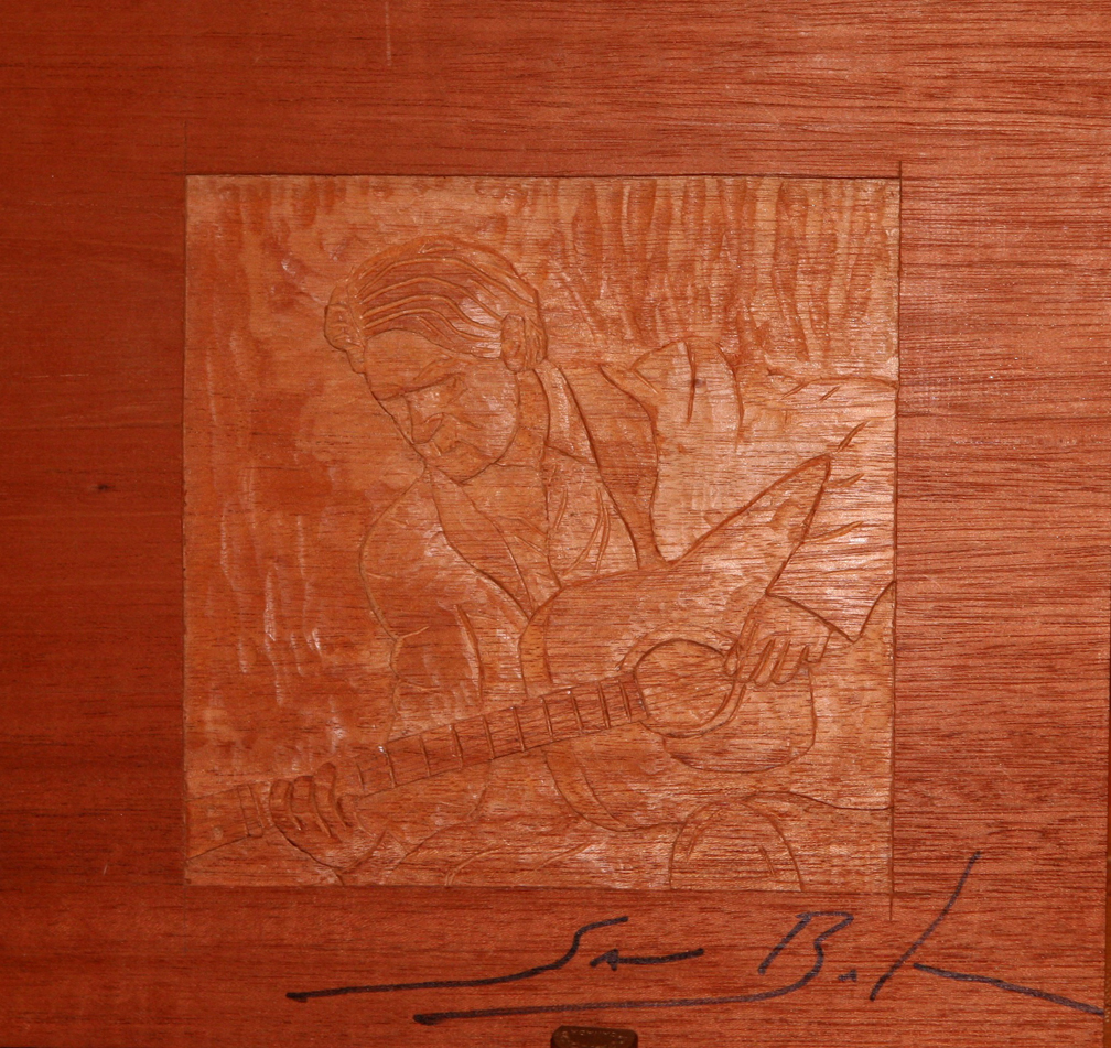 Signed Sam Baker carving in Mahogany